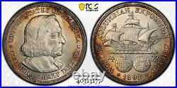 1892 Silver US Commemorative Columbian half dollar PCGS MS62Nice Toning! LQQK