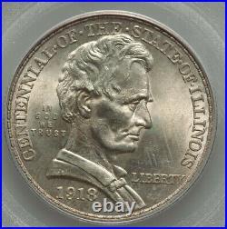 1918 50¢ Lincoln-Illinois Centennial Commemorative Silver Half Dollar