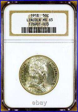 1918 NGC MS65 Lincoln Commemorative Half Dollar
