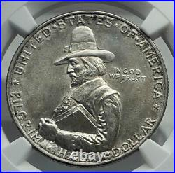 1920 PILGRIM on MAYFLOWER Commemorative Silver US Half Dollar Coin NGC i79600