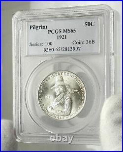 1921 PILGRIM on MAYFLOWER Commemorative Silver US Half Dollar Coin PCGS i76446