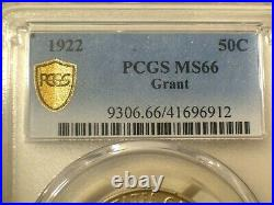 1922 No Star PCGS MS66 GOLD Shield Silver GRANT Commemorative Half Dollar 50c