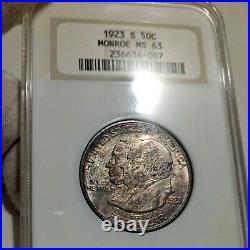 1923-S MS63 Monroe Commemorative Half Dollar 50c, NGC Graded, Rich Tone