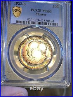 1923-S Monroe Commemorative Half Dollar PCGS MS63 Toned (tough to find toned)