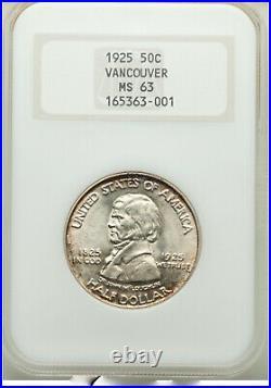 1925 50C Fort Vancouver Centennial Half Dollar NGC MS63 Rainbow Peripheral Tones