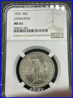 1925 Lexington Commemorative Half Dollar MS65 NGC Gem BU(Book Value=$575)