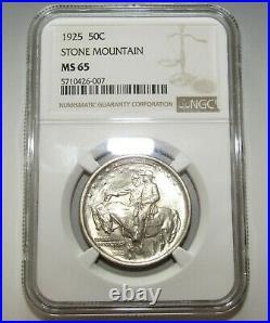 1925 STONE Mountain 50c Silver Commemorative Half Dollar NGC MS65