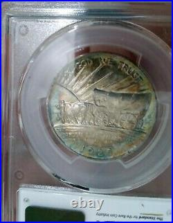 1926 S Pcgs Ms65 Rainbow Color Toned Oregon Trail Silver Half Dollar Choice Gem