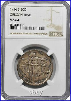 1926-s Oregon Trail Commemorative Half Dollar Ngc Ms-64 Richly Toned With Color