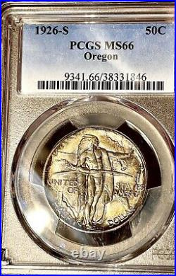 1926-s oregon trail commemorative half dollar pcgs ms66