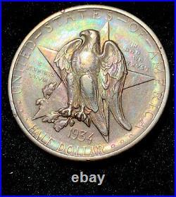 1934 P Texas Commemorative Half Dollar- Lustrous Brilliant AU+-BEAUTIFUL TONED