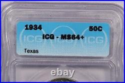 1934 Texas Classic Silver Commemorative Half Dollar ICG MS64+