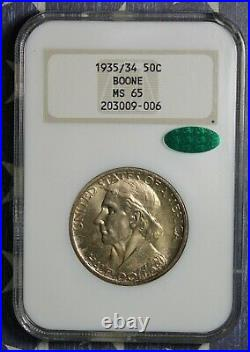 1935/34 Boone Silver Commemorative Half Dollar Coin Ngc Ms65 Cac Free Shipping
