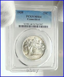 1935 CONNECTICUT CHARTER OAK Commemorative Silver Half Dollar Coin PCGS i76434