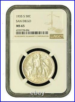 1935-S 50C San Diego US Commem Silver Half Dollar NGC MS65 BU UNC Beautiful 8006