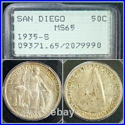 1935-S San Diego 50c Silver Commemorative Half Dollar PCGS MS65 Gem Unc OGH