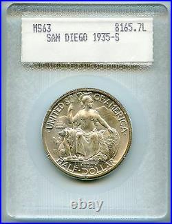 1935-S San Diego Commemorative Half Dollar 50c OLD SCARCE BLANCHARD HOLDER