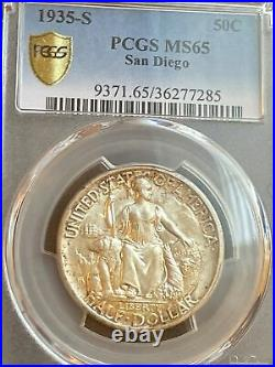 1935-S San Diego Commemorative Half-Dollar PCGS Gold Shield MS65