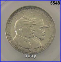 1936 Gettysburg Commemorative Half Dollar Anacs Certified Ms64 Flashy #5548