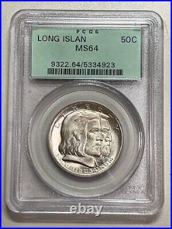1936 Long Island Commemorative Half Dollar Pcgs Ms64 Old Holder