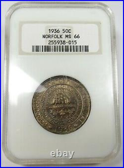 1936 NGC MS66 Norfolk Commemorative Silver Half Dollar 50c US Coin #25335B