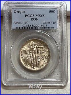 1936 Oregon Trail Commemorative Half Dollar Pcgs Ms65