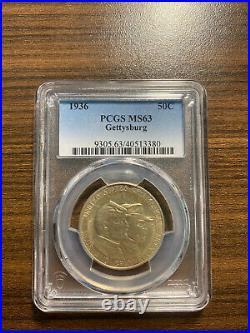 1936-P Gettysburg Silver Half Dollar Commemorative 50C PCGS MS 63 RARE GRADE