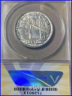 1936-S ANACS MS64 Bay Bridge Commemorative Silver Half Dollar