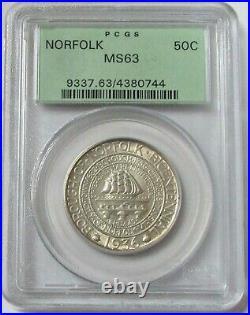 1936 Silver Norfolk Commemorative Half Dollar 50c Pcgs Green Label Mint State 63