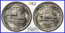 1936 Wisconsin Commemorative Half Dollar PCGS MS67 TrueView & Gold Shield