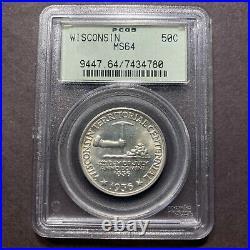 1936 Wisconsin Half Dollar 50c PCGS MS64 OGH Old Commemorative Gem