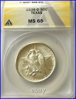 1936D Texas Commemorative MS65 ANACS Gem Original Blast Lustre delicate tone