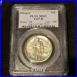 1937-D 50c U. S. Oregon Trail Commemorative Silver Half Dollar PCGS MS65