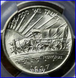 1937 D (BLAST WHITE)Oregon Trail Commemorative Half Dollar MS 67 PCGS
