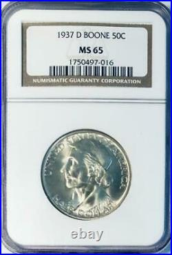 1937-D Boone Commemorative Silver Half Dollar NGC MS 65 -Low Mintage