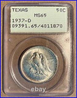 1937-D PCGS MS65 50C Texas Silver Commemorative Half Dollar Rattler Holder OGH