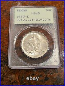 1937 D Texas Silver Commemorative Half Dollar Pcgs Graded Ms65-ships Free