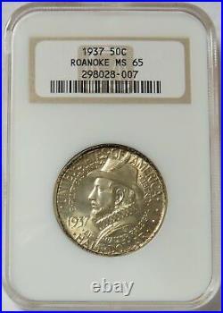 1937 Roanoke Commemorative Silver Half Dollar 50c Ngc Mint State 65