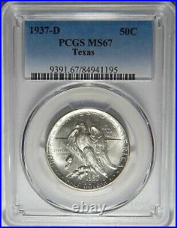 1937-d Pcgs Ms67 Texas Half Dollar Silver Commemorative