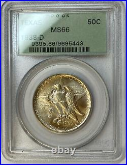 1938-D Texas Commemorative Silver Half Dollar PCGS MS66 Old Green Holder OGH
