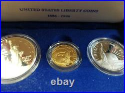 1986 US Liberty Proof, 3 piece Coin Set, Silver half, dollar, and $5 gold coins