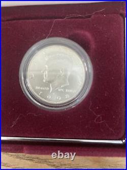 1998 Kennedy Collectors 2 Coin Set Silver Dollar & Matte Half Dollar W BOX & COA