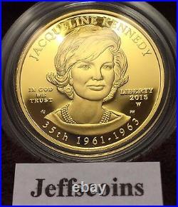 2015 W Jacqueline Kennedy 1/2 Oz 24k Gold Proof $10 First Spouse Jackie Half JQ1