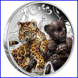 2016 The Jaguar Cubs Tuvalu 1/2 oz SIlver Proof 50c Half Dollar Coin Colorized