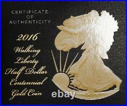2016 Walking Liberty Half Dollar Centennial Gold Coin W Box & COA Item#P13441