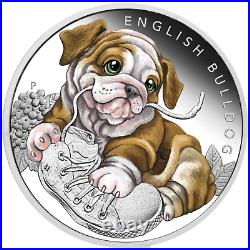 2018 Puppies ENGLISH BULLDOG Tuvalu 1/2 oz Silver Proof 50c Half Dollar Coin