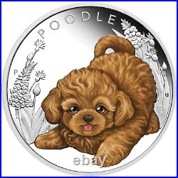 2018 Puppies POODLE Tuvalu 1/2 oz Silver Proof Half Dollar Coin Colorized