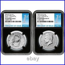 2019-S 50c Apollo 11 50th Ann. Half Dollar 2pc. Set NGC PF70 FDI First Label Ret