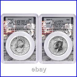 2019-S 50c Apollo 11 50th Ann. Half Dollar 2pc. Set PCGS PR70 FDOI Apollo Frame