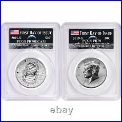 2019-S 50c Apollo 11 50th Ann. Half Dollar 2pc. Set PCGS PR70 FDOI Apollo Label